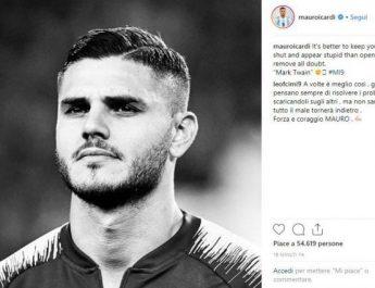 """Mauro Icardi rompe il silenzio: """"E' meglio tacere e sembrare stupido…"""""""