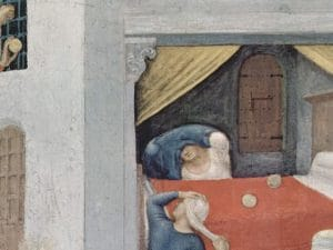 Il Miracolo della dote in una versione dipinta da Ambrogio Lorenzetti nel 1332, Galleria degli Uffizi, Firenze.